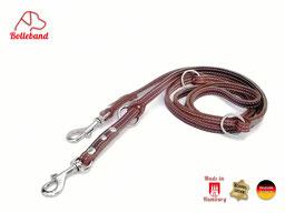 Lederleine für Hunde braun mit heller Naht Bolleband 1 cm breit