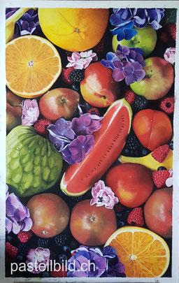 Pastell, pastel, fruits, Früchte, still life, Stillleben