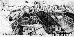 Heimlich gefertigte Glückwunschkarte holländischer KZ-Häftlinge, Oktober 1944, mit Ansicht des KZ-Lagers