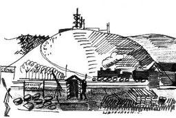 Blick vom Eingang des KZ auf den Geischberg. Zeichnung eines ehemaligen belgischen Häftlings, etwa 1965