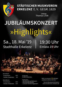 "Städtischer Musikverein Erkelenz Konzertplakat ""Highlights"" 2019"