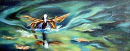 ölmalerei, Schildhuhn beim Nestbau, gegenständliche Malerei