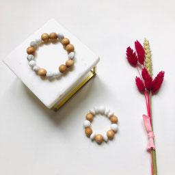 Bracelet de dentition bois et silicone personnalisable