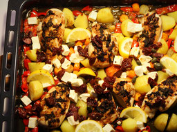 Einfach! Küche! Ofenhähnchen griechische Art aus dem Backofen