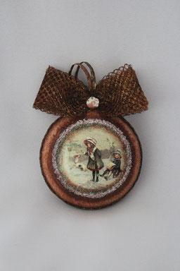 Decoupage Medallion Weihnachten Handmade