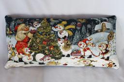 Weihnachtsmann mit Schneemänner Weihnachtskissen