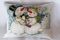 zwei Schneemänner verliebt weihnachtskissen