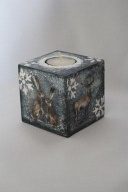 Decoupage Kerzenhalter Weihnachten Handmade