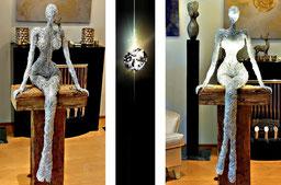 Draht Skulptur Dame auf Holz