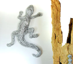 Drahtskulptur Geko aus draht