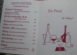 die Getränkekarte 1970 der Kupferkanne bei Helmut. ---Heute -Spelunke-