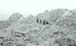 Eiswinter 1947-48 - Eisschollenberge im Juister Watt