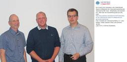 Vorstand der Genossenschaft (v.l.n.r.) Jens Heyken, das neue Vorstandsmitglied Hauke Janssen-Visser und Vorstandsvorsitzender Gerhard Jacobs. August 2019