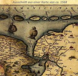 AUSSCHNITT aus  Alte Landkarte von ca 1568 mit der Niederlande und Ostfriesland.