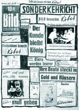 """Postkarte von 1958 , des """"Hummer - Köbes"""" , auf dem Foto links am Tresen Hausherr Bernhard Kautz ."""