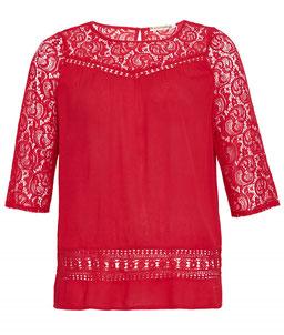 elegante rote Spitzenbluse in Gr 50