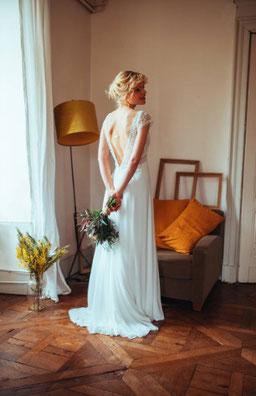 robe de mariée décolleté dos nu Ombeline par Elsa Gary ile de france