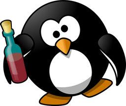 Pinguin mit Rotweinflasche (Foto: Pixabay)