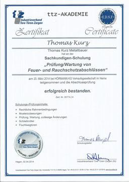 Zertifikat ttz-Akademie, Prüfung/Wartung von Feuer- und Rauchabschlüssen