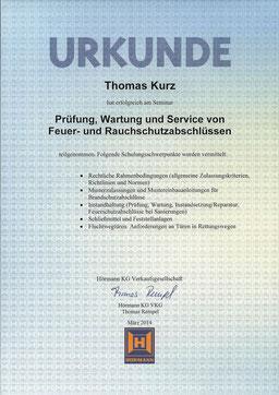 Urkunde von Hörmann, Prüfung, Wartung und Service von Feuer- und Rauchabschlüssen