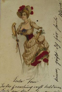 1900年ポストカード、女性、ファッション、帽子ファッション