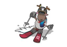 © Ötztal Tourismus; Ötztal, WIDI, Maskottchen, Illustration, Grafik, Winter, Skifahren, Skifahrer, Schnee
