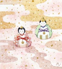 和風イラスト「春うらら」水彩画・福井良佑