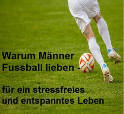 Fussballspieler  kickt einen Ball auf dem Spielfeld, Stress und Entspannung, EMDR, Trauma-Therapie, PTBS, Rosacea, Neurodermitis, Psoriasis, Psychotherapie