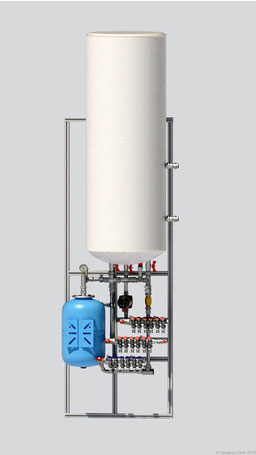 Узел обеспечивает приготовление и распределение холодного и горячего водоснабжения, обеспечивает рециркуляцию ГВС