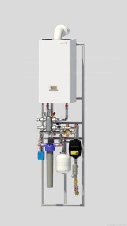 Узел теплогенератора  и ввода и подготовки водоснабжения для частного дома в рамках модульной котельной