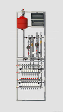 Распределительный коллектор с насосными группами обеспечивает контура отопления и коллекторы приготовленным теплоносителем