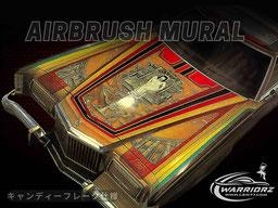 アメ車カスタムペイント、ソウルペイントしてボンネットにミューラルを入れたフォードサンダーバードローライダー