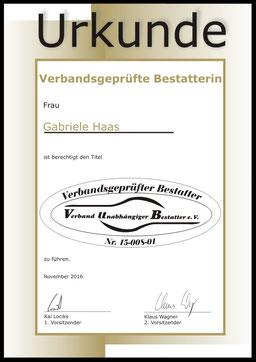 Gabriele Haas geprüfte Bestatterin Eberswalde Bestattungshaus Deufrains