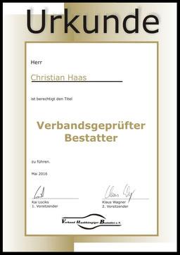Christian Haas geprüfter Bestatter Eberswalde Finow Bestattungshaus Deufrains