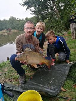 Ludovic, carpe miroir de 5,000 kg, prise au détecteur, le 30 août 2018