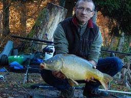 Ludovic, carpe miroir de 5,200 kg, prise au détecteur, le 14 novembre 2018