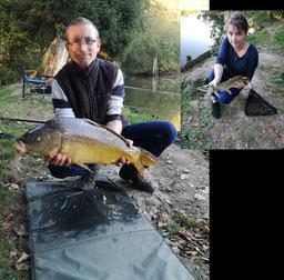 Ludovic et Audrey, carpe miroir de 6,000 kg et brochet de 53 cm, pêchés au détecteur et au leurre, le 7 octobre 2018