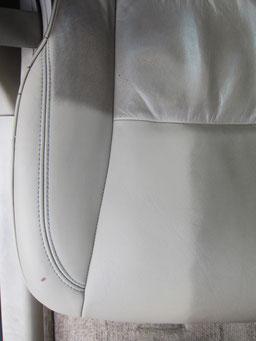 ゼロクラウン レザーシート汚れ落とし(クリーニング)作業中汚れ比較写真アップ