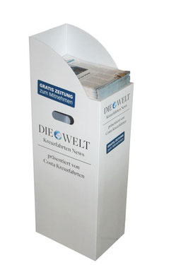 Zeitungsspender aus Pappe. Display Bodendisplay für Prospekte, Broschüren oder auch Bücher
