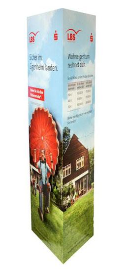 Ellipsensäule Faltsäule aus Pappe Pappsäule Werbesäule Pop-up oval POS Säule Pappaufsteller Säulendisplay A3 mit eingeklebter Spreizmechanik
