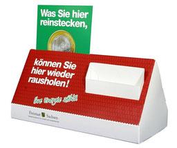 Dispenser aus Pappe in Hausform, für Flyer, Postkarten, Gewinnkarten oder Prospekte
