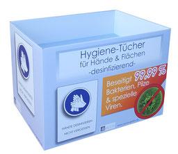 Bodendisplay oder Schütte für Hygienetücher oder Desinfektionsmittel Corona. Aus beduckter Wellpappe