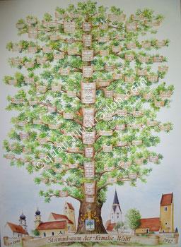 Stammbaum - Gouache auf Aquarellpapier