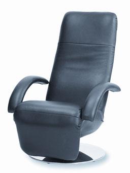 Strässle TV Sessel Daniel in schwarzem Leder