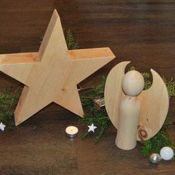 Stern und Engel aus Zirbenholz