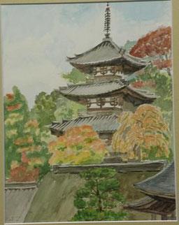 秋の当麻寺 水彩6号
