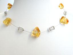 Halskette mit Glaskieseln gelb grau