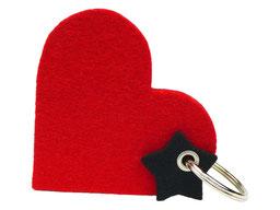 Schlüsselanhänger mit Herz rot schwarz Valentinstag