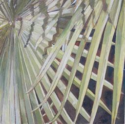 Palmenblätter, 80cmx80cm, 2011,  Akryl auf Leinwand