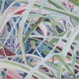 Pfau im Gras,  80x80 cm, 2011,  Akryl auf Leinwand